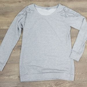 Charlotte Russe crystal shoulder gray sweater